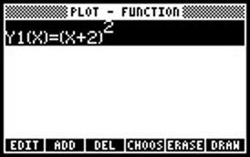 Screen capture of function menu