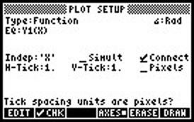 Screen capture of plot setup menu